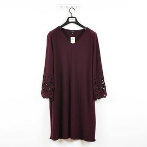 Women's Plus Size Bell Sleeves V-Neck Dress